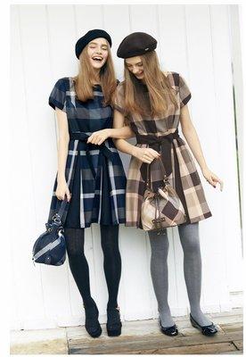 預購 日本限定 Blue Label crestbridge 毛料 經典格紋 附腰帶 洋裝