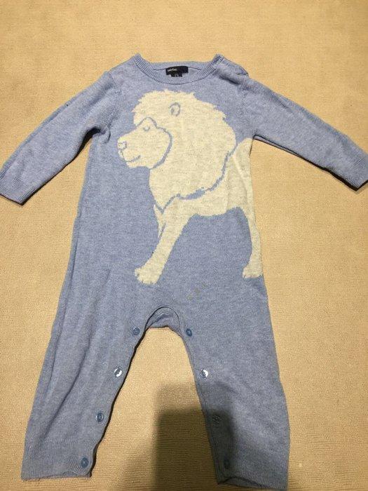 Baby gap 天藍色獅子針織連身毛衣 兔裝 ️