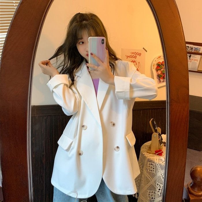 小香風 短袖T恤 時尚穿搭 韓版 寬松中長款白色氣質垂感薄款休閑長袖西裝外套女