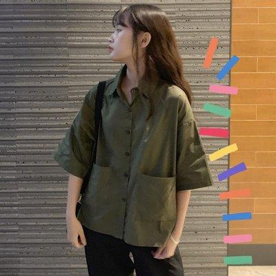 小香風 短袖T恤 時尚穿搭 韓版 寬松學生POLO領短袖襯衣女裝設計感小眾襯衫上衣