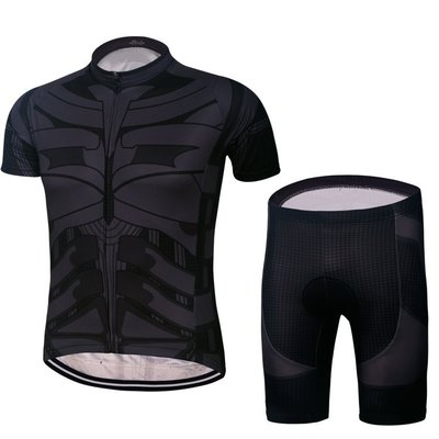 蝙蝠俠Batman騎行服短袖套裝山地騎行服公路越野騎士服 運動短袖T恤 緊身上衣+褲子 美國英雄山地自行車服單車