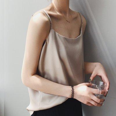 『P.M♥SHOP』春夏新款內搭單穿質感緞面細肩帶小吊帶背心女YX0357