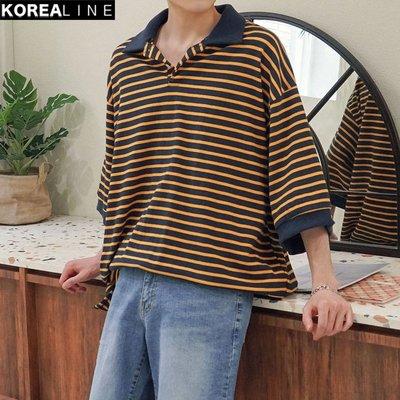 KOREALINE搖滾星球 / OVERSIZE 寬版條紋短袖POLO衫 / 4色 / EF995710