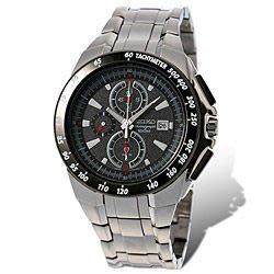精工SEIKO 飆風戰警鬧鈴計時馬錶-黑公司貨100%日本製造! 鋼帶腕錶  SNAB09J1