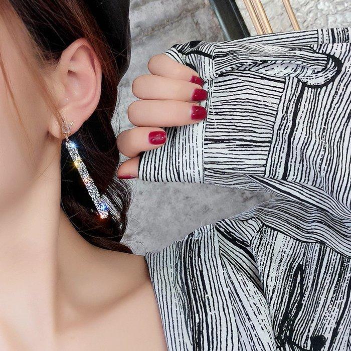熱銷飾品 925銀針高級感水晶耳環女新款潮日韓個性長款氣質耳釘 品味生活