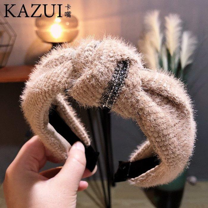 韓版秋冬新款發飾韓國針織毛絨打結鑲鉆寬邊發箍頭箍壓發女士新款