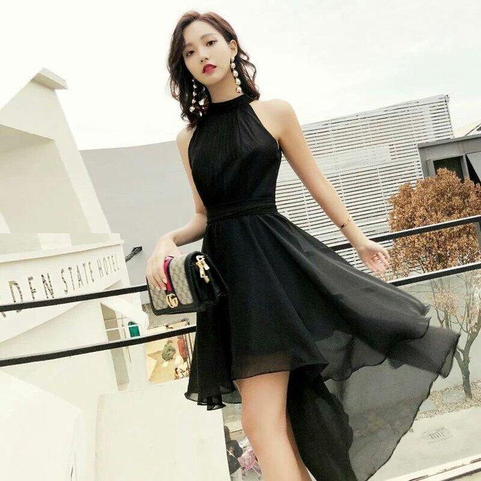 天使佳人婚紗禮服旗袍~~前短後長雪紡紗黑色晚禮服