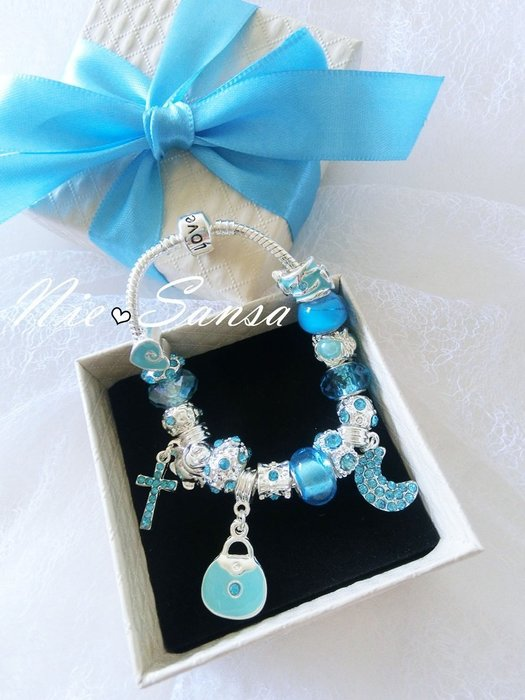 Nie Sansa 現貨特價出清 璀璨星空 潘朵拉風格之手作珠飾吊飾銀色手鍊手環飾品