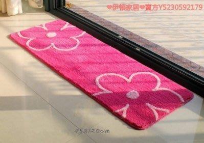 【易發生活館】玫紅花朵長條墊吸水地墊門...
