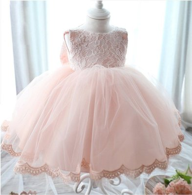 花童禮服 兒童公主裙 女童連身裙 寶寶蕾絲裙子 生日禮服—莎芭