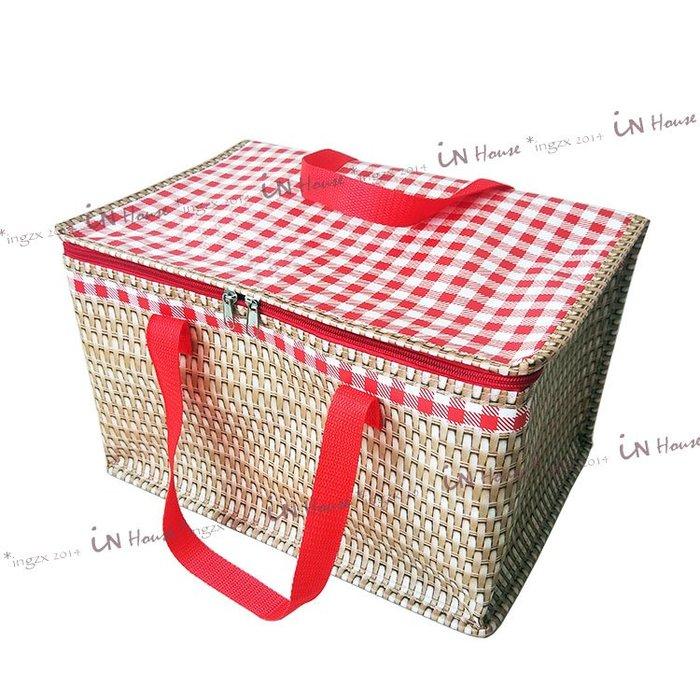 IN House*🇹🇼現貨thermos bag大容量保溫防水手提袋 保冷袋 保溫袋 便當袋 露營仿藤編造型野餐籃
