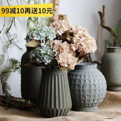 千禧禧居~【山樹】親中式罐藝術玻璃器皿手工石器效果大型花器花瓶擺件古董