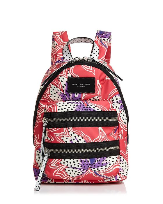 Coco 小舖 MARC JACOBS Biker Mini Backpack  紅色百合花迷你後背包