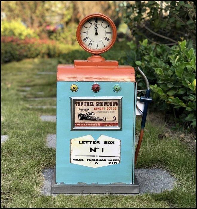 仿古藍橘色鐵藝氣壓儀錶板桌鐘 鐵皮模型 美式鄉村工業風復古仿舊造型時鐘桌上收納櫃 擺飾道具櫥窗【歐舍傢居】