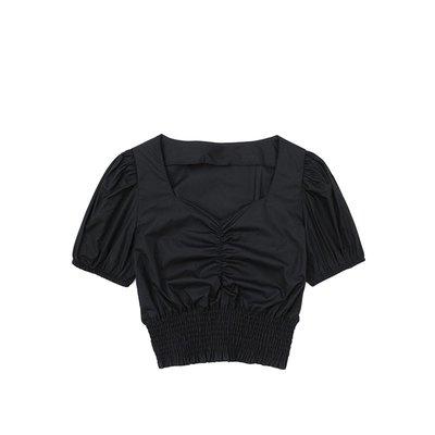 Kate@JIN自制夏復古法式方領泡泡袖褶皺收腰襯衫顯瘦百搭高腰露臍襯衣