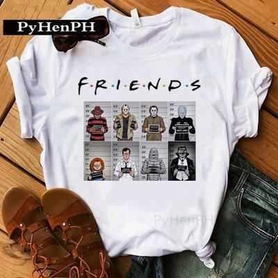Horror Story T shirt 惡搞恐怖故事印花T恤男女同款街頭寬松短袖