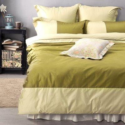 《60支紗》雙人床包/被套/枕套/4件式【綠色】波隆那100%精梳棉-麗塔寢飾-