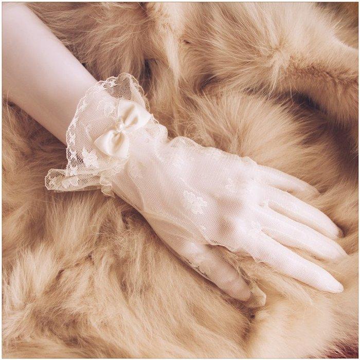韓式簡約夏季優雅短款婚禮結婚手套新娘白色蕾絲婚紗配飾薄款通用
