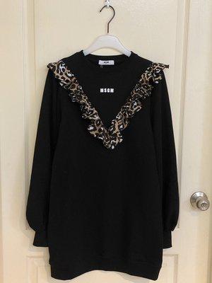 全新超美  leopard-print ruffle jumper dress 黑色 14A 現貨限量一件