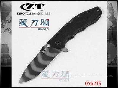《藏刀閣》ZERO TOLERANCE-(0562TS)切割者鈦柄虎斑紋折刀