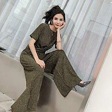 格格家 夏裝新款名媛時髦大牌時尚圓領燙金T恤+高腰闊腿褲套裝女