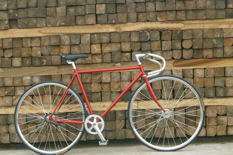 【河馬自行車】復古車 復古自行車 復古單速車 死飛車 烤漆車架 18mm復古細圈 可DIY配色  酒紅色