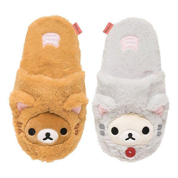 ~河馬家族~日本帶回_SAN-X_Rilakkuma懶懶熊懶妹多摩貓絨毛室內拖鞋627276☆現貨