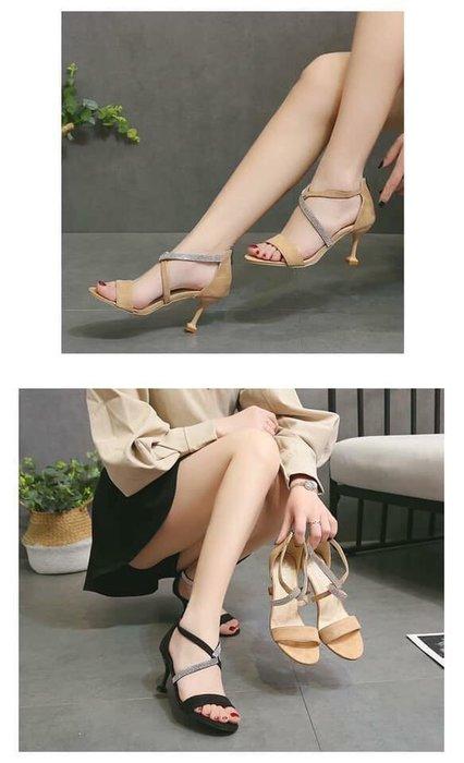 貓姐的團購中心~Z0239 性感露趾水鑽細跟涼鞋~2種顏色~35-40號~一雙450元~預購款