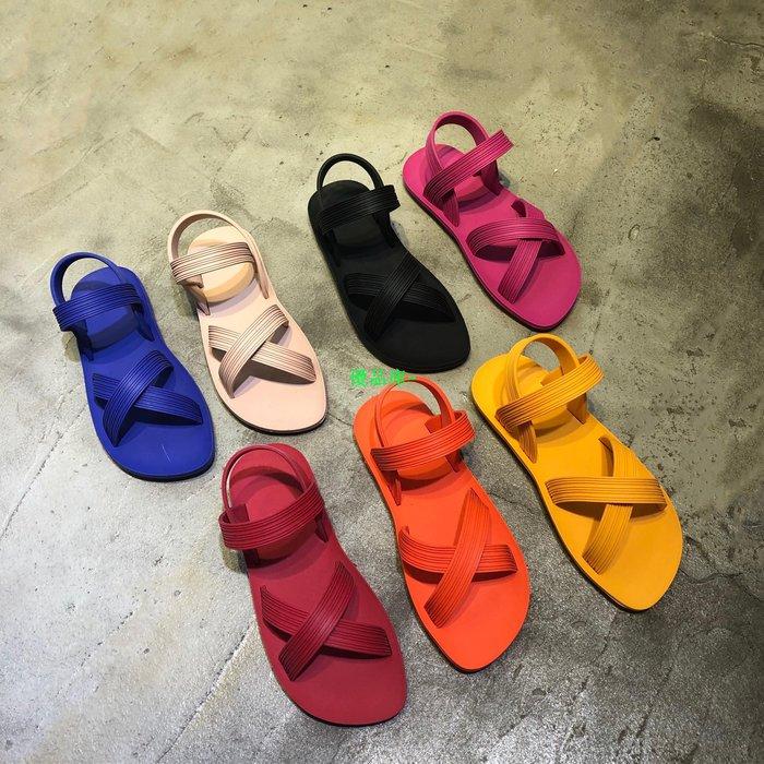 優品庫~不怕泡水的沙灘鞋泫雅風韓國INS度假款糖果熒光彩色平底柔軟涼鞋