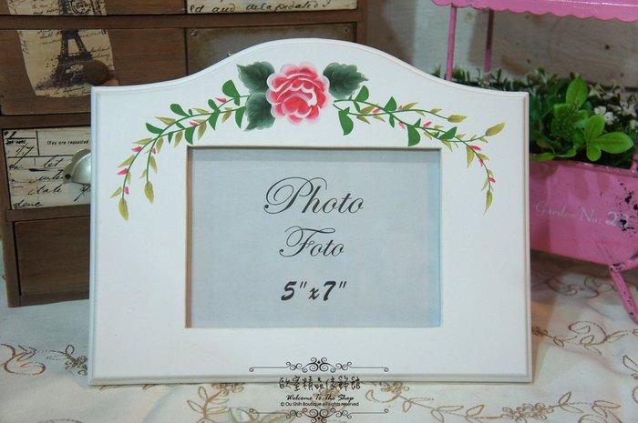 ~*歐室精品傢飾館*~ 鄉村風格~ 洗白 玫瑰 彩繪 5*7 相框~新品上市~