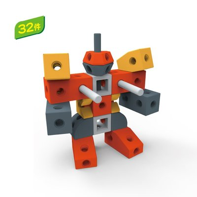 【晴晴百寶盒】台灣品牌格列佛積木-機器人32PC/恐龍26PCWISDOM 建構式益智遊戲 環保無毒玩具檢驗合格W929