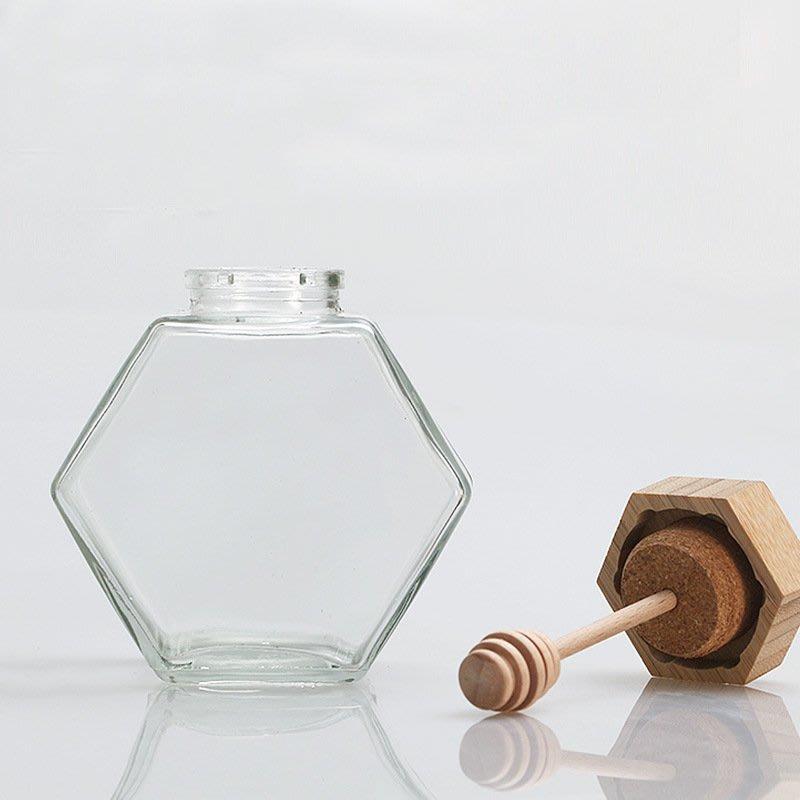 六角玻璃蜂蜜瓶木製攪拌棒☆ VITO zakka ☆ 220ml / 380ml台灣現貨供應