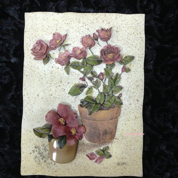 點點蘑菇屋{璧飾}美國 new view復古玫瑰花盆栽(三)壁掛畫 立體浮雕 掛飾 壁磚