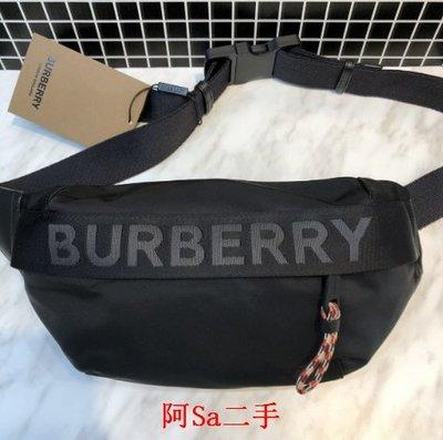 阿Sa二手  BURBERRY 黑色尼龍 LOGO 腰包 / 背包