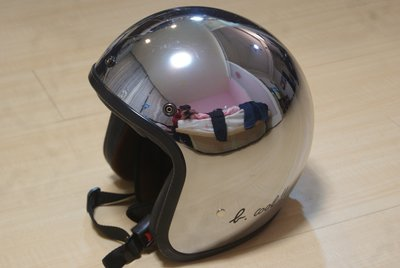 agnes b SPORT b 2016年限定版 蜥蜴LOGO金屬銀色鏡面安全帽 限量半罩3/4罩飛行員 全新現貨已絕版