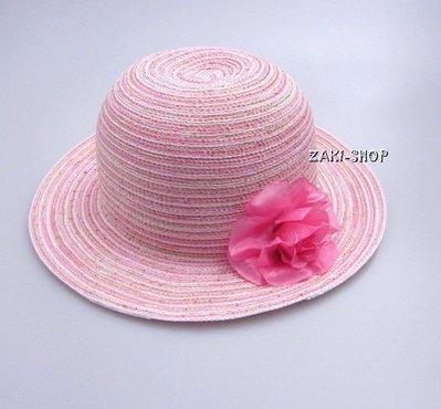 【ZAKI童話城堡】粉嫩百搭優質粉色草帽/可愛小花裝飾/遮陽帽/親子帽/兒童草帽/有防風帶