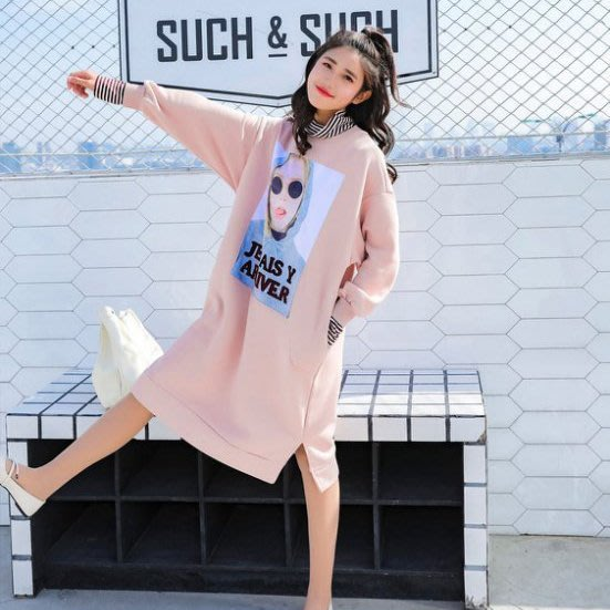 【Original‧爾瑞菈】現貨 秋冬高領假兩件式內刷毛加厚開叉連身裙T恤兩穿