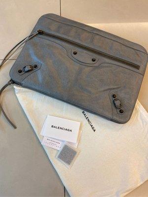 (全新) Balenciaga 灰色羊皮流蘇機車包款手拿包 電腦包