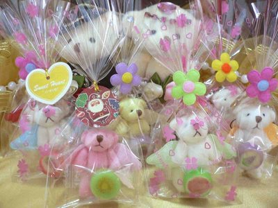 需自行包裝~天使熊+水果糖+小卡/小花飾物印花包裝袋~結婚禮小物婚宴囍糖二次進場聖誕節送客禮贈品來店禮周年慶生迎賓滿額禮