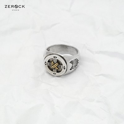 《ZEROCK》ANVIOLOGY HANDCRAFT 冶金工邏輯 925純銀 藥輪金繩印台戒 戒指 燻黑版本