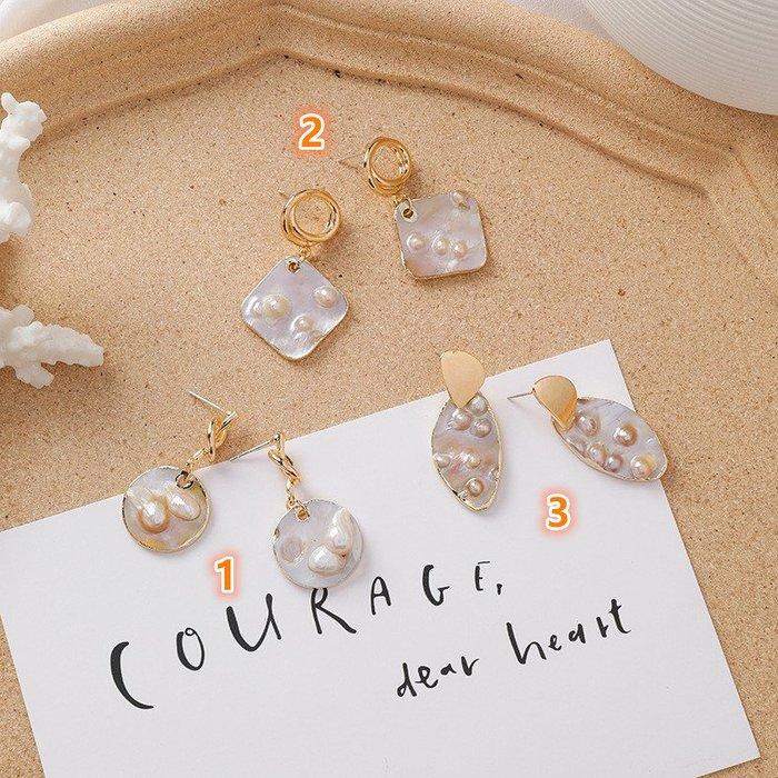 {朵朵韓飾} B3308 韓國直送(正韓)-925銀針 甜美個性不規則珍珠貝殼耳環(三款)