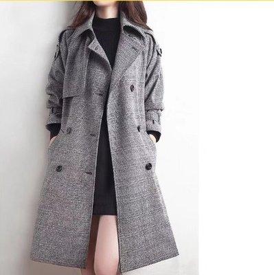 現貨 .X L M/韓國 韓系中長款雙排扣大碼毛呢大衣NC30-A.3307胖胖美依