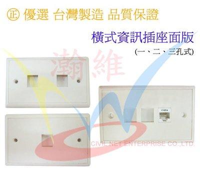 [瀚維] 台灣製造 橫式 資訊座面板 搭配 CAT.5E CAT.6 資訊座 電話插座 另售 歐風卡式蓋板 資訊座 面板