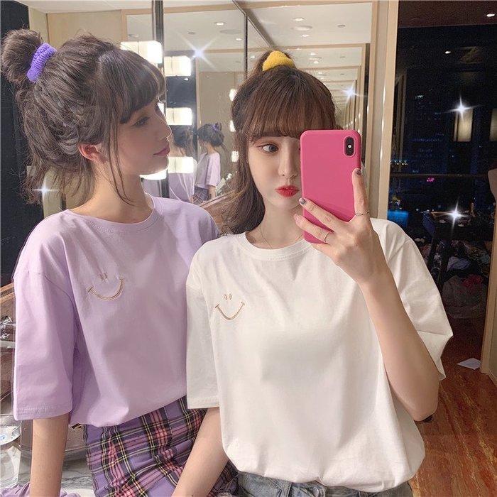 小香風 短袖T恤 時尚穿搭 韓版 簡約百搭ins超火寬松BF風打底短袖T恤上衣女學生
