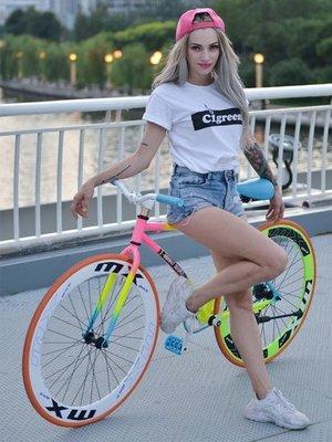 正確版死飛自行車單車活飛公路賽倒剎車實心胎熒光成人男女