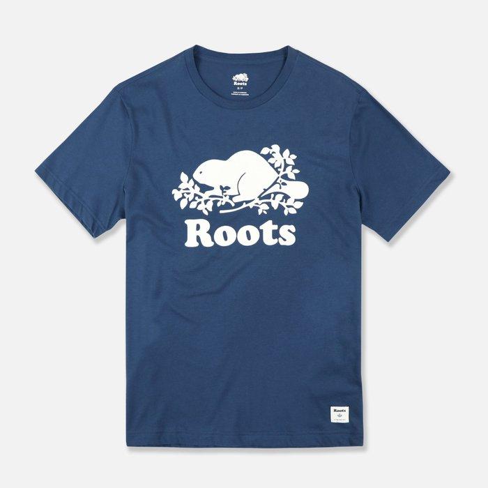 【Roots】男款短袖T恤白植絨海貍白字深藍 F11190712-14