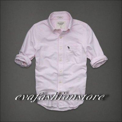 【 Abercrombie & Fitch】AF MEN 男裝大人 經典麋鹿粉紅色條紋牛津布襯衫 現貨特價