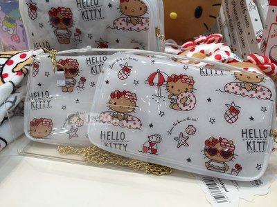 『限時特價』日本SANRIO三麗鷗 Hello Kitty 夏季 海邊 游泳 渡假風 PVC斜背包手機包收納包 附吊飾