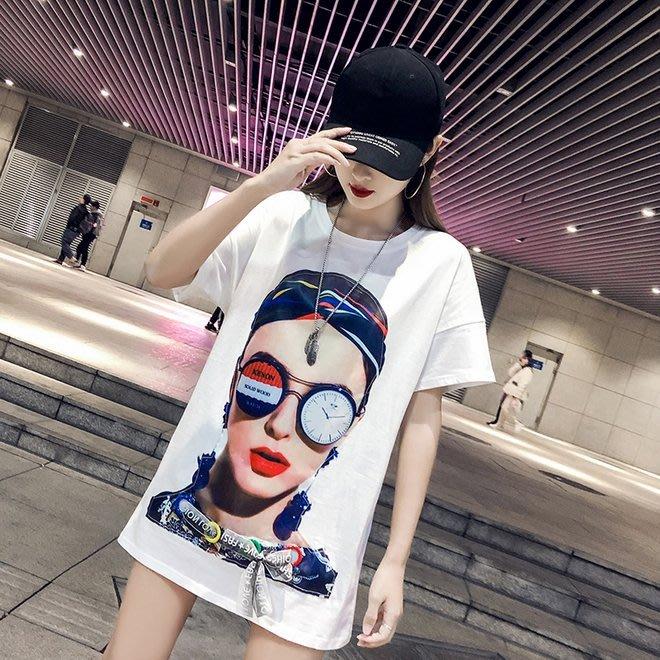 FINDSENSE G6 韓國時尚潮流 夏季新款短袖純棉中長款T恤女寬鬆加肥大尺碼百搭上衣女