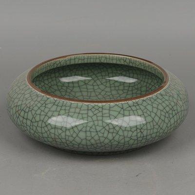 ㊣姥姥的寶藏㊣景德鎮陶瓷古哥窯醬釉口綠釉開片紋水淺筆洗茶
